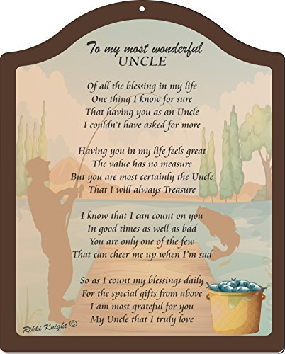 Rikki Knight to My Most Wonderful Uncle Rustic Fishing Design Touching 8×10 Poem Plaque with Arch Top For Sale