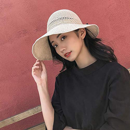 Tianerly Sun Visor Hats for Women Wide Brim Knitted Ponytail Summer Beach Hat UV UPF 50 Travel Packable Beige