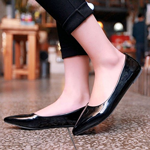 Taoffen Femmes Casual Chaussures Plates Fashion Lady Sexy Candy Couleurs A Souligné Toe Chaussures Noir
