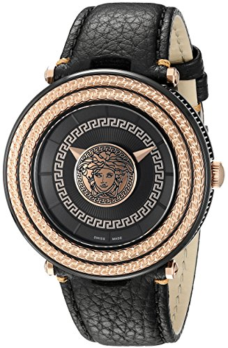 Versace Men's VQL030015 V-Metal Icon Analog Display Quartz Black Watch