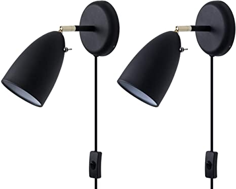 Plug In Wall Sconce Lighting For Bedroom Living Room Simplicity Matte Black Plug In Or Hardwired Wall Lighting Fixture 2 Pack