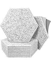 Paquete de 12 paneles acústicos hexagonales autoadhesivos, borde biselado, paneles de espuma a prueba de sonido, 30,5 x 30,4 x 0,4 pulgadas, acolchado a prueba de sonido para pared, tratamiento acústico para estudio, hogar y oficina