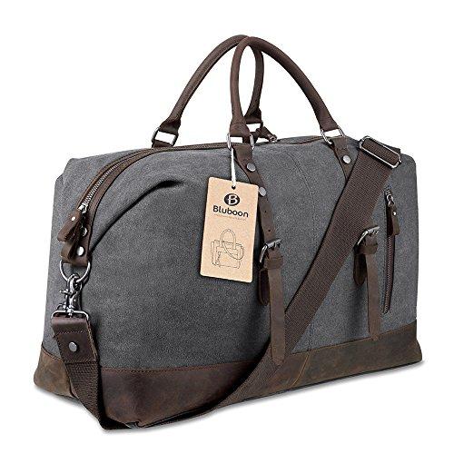 Weekender Vintage Reisetaschen Leder Segeltuch Herren Damen Echtes Leder Ordnung (Grau)