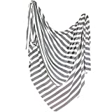 "Large Premium Knit Baby Swaddle Receiving Blanket Black and White ""Tribe"" by Copper Pearl"