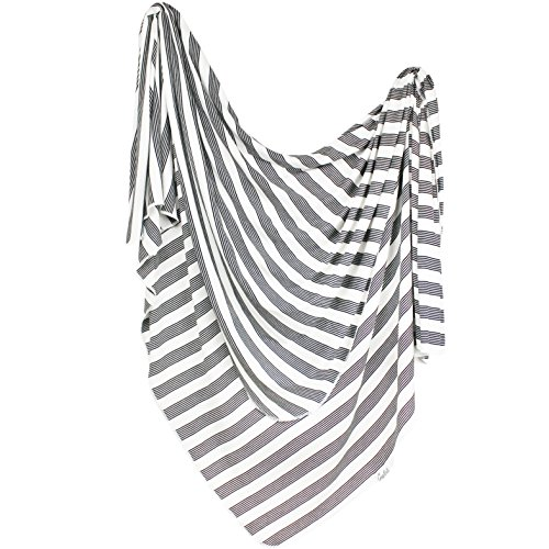 Large Premium Knit Baby Swaddle Receiving Blanket Black and White