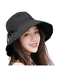 Bhwin Women Summer Beach Sun Hat Anti-UV UPF 50+ Foldable Wide Brim Bucket 399ddd5a8c86
