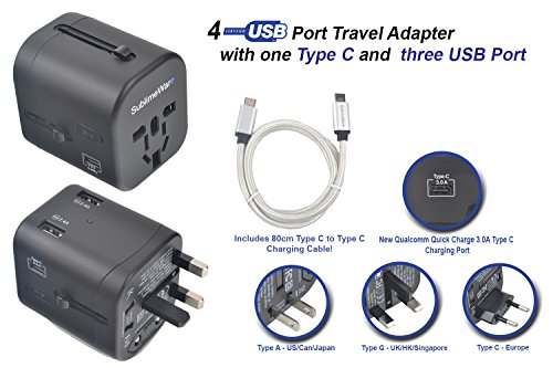 International Power Adapter w/ USB Type C Port & 3 USB Type A Ports (w/ USB-C to USB-C Cable 80 cm long) Type C Type F Type G Type A Type I For Europe UK US Japan China Australia - by SublimeWare