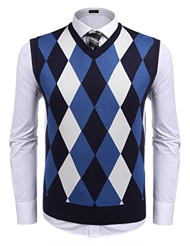 (COOFANDY Men's Casual Slim Fit V-Neck Rhombus Business Knitwear Sweater Vest, Type 2 Navy Blue, Small )