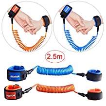 Austor 2 pack Baby Child Anti Lost Wrist Link Safety Harness Strap Rope Leash Walking Hand Belt, 2.5M