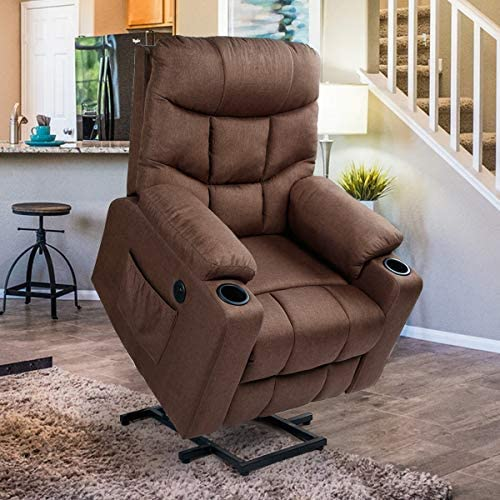 Esright Fabric Power Lift Chair Electric Recliner for Elderly, Vibration Massage Chair with Heater, 2 Cup Hoders, USB Outlet Remote Control, Brown