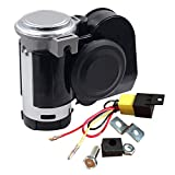 SoundOriginal 12Volt Loud Car Air Horn Big Truck Horn 125db with Automotive Relay Electric Horn for Truck Car Motorcycle (Black)