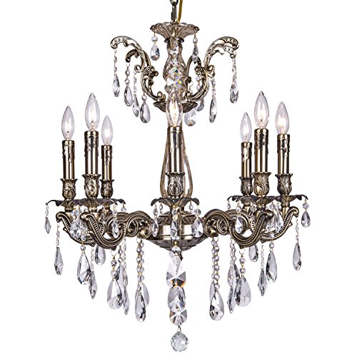 Classique 8 Light Crystal Chandelier Light Fixture In Sierra Bronze Finish With Clear European Tear Drop Crystals