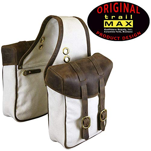 (TrailMax Canvas & Leather Horse Saddle-Bags for Trail Riding, Premium Leather & Rugged Canvas with Brass Hardware, Heavy Leather Straps & Leather Piping, fits Western & Endurance Saddles)