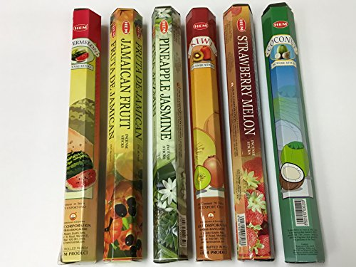 Incense Tropical (Hem Tropical Fruit Variety Incense Set 6 X 20 = 120 Sticks Variety Gift Pack)