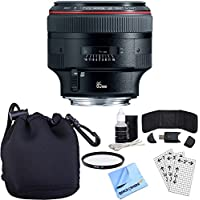 Canon EF 85mm F/1.2L II USM Telephoto Lens w/ Accessory Bundle includes Lens, Pouch, 72mm UV Filter, Memory Card Wallet, Card Reader, Screen Protectors Cleaning Kit and Beach Camera Microfiber Cloth