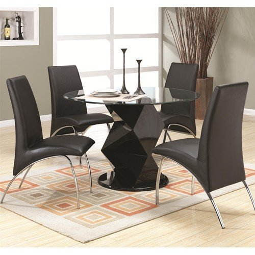 Ophelia Contemporary Five Piece Dining Set with Round Glass Top Table