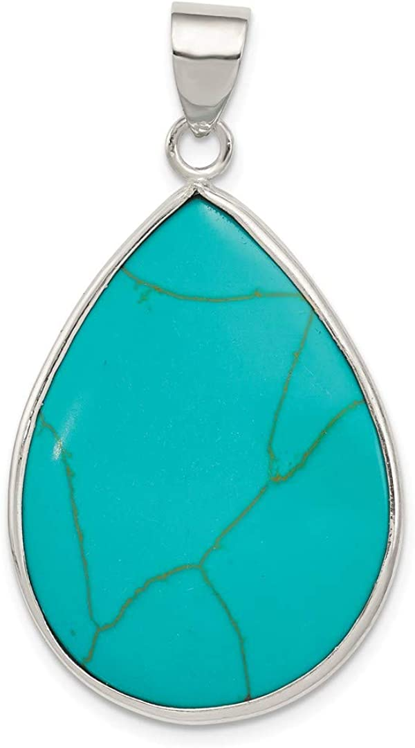 Sterling Silver Teardrop Turquoise Pendant