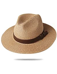 a141a197 Panama Hat Sun Hats for Women Men Wide Brim Fedora Straw Beach Hat UV UPF 50