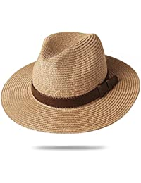 f939fea50dd05 Panama Hat Sun Hats for Women Men Wide Brim Fedora Straw Beach Hat UV UPF 50