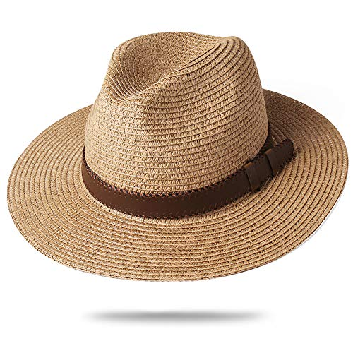 FURTALK Panama Hat Sun Hats for Women Men Wide Brim Fedora Straw Beach Hat UV UPF 50 Medium Size (22'-22.8'), Brown with Leather Belt (Men Hats Summer)