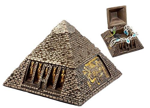 Pyramid Trinket Box - Ebros Bronzed Ancient Egyptian Gods & Deities Pyramid Jewelry Box Figurine Decorative Small Trinket Box Statue