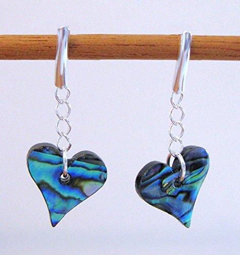 Paua Shell Heart Earrings - Sterling Silver ()