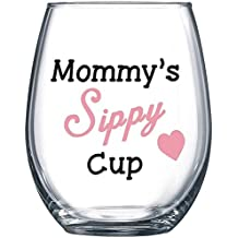 Mommy's Sippy Cup - Funny Wine Glass 15oz - Christmas Gift for Mom, Gift Idea for Her, Birthday Gift for Mom - Evening Mug