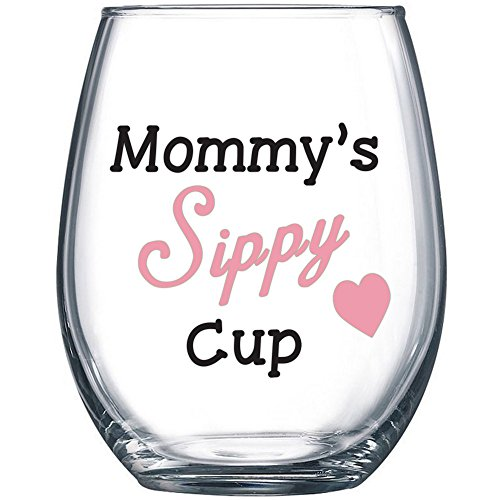 Mommys Sippy Cup - Funny Wine Glass 15oz - Christmas Gift for Mom, Gift Idea for Her, Birthday Gift for Mom - Evening Mug