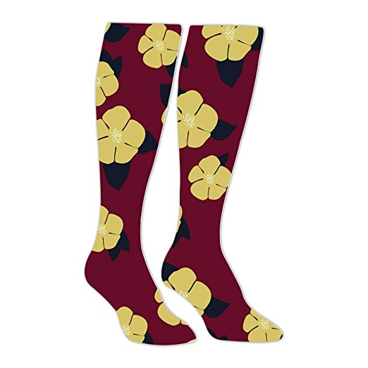 ef60ae55819eb Amazon.com: Yellow Floral Compression Socks Long Knee Stockings High ...