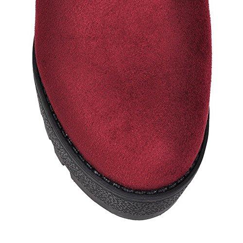VogueZone009 Damen Hoher Absatz Rein Rund Zehe Ziehen auf Stiefel Rot