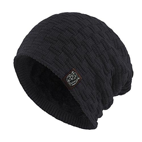 Janey&Rubbins Winter Baggy Oversize Solid Knit Beanie Hat Warm Villi Lined Skull Ski Cuff Stocking Cap (Black) ()