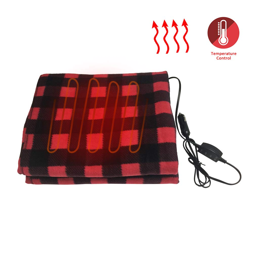 Whiteswan Keep Warm Cars Electric Blankets 12V Lattice Fleece 145x100cm Car Supplies Winter Hot Car Constant Temperature Heating Blanket Plug in Vehicle's 12V for Travel Camping Picnic Heater