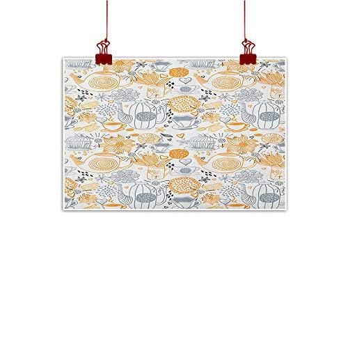 Halo Kettle (Canvas Prints Wall Art Tea Party,Colorful Floral Arrangement with Teacups and Pots Kettle Retro Art Design Nature, Orange Grey 20