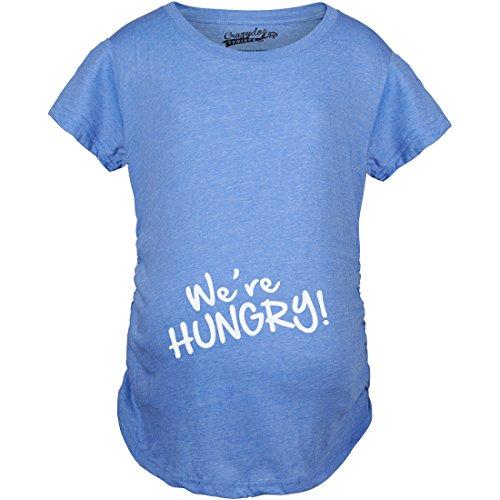 Crazy Dog TShirts - Maternity We're Hungry Funny Baby Bump Pregnancy Announcement T shirt (Blue) XL - damen - XL