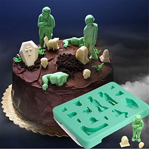 1 Pack Halloween Zombie Creative Chocolate Mould Cake Ice Lattice Mold Zombie Coffin Tomb Skeleton Mold Silicone Cat Halloween Mold