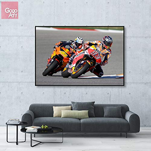 GoGoArt ROLL Canvas Print Wall Art Panorama Big Picture Poster Modern (no Framed no Stretched not Oil Painting) MotoGP Superbike Marc Marquez Racing Motorcycle Repsol Honda A-0204-1.5 (32 x 48 inch)