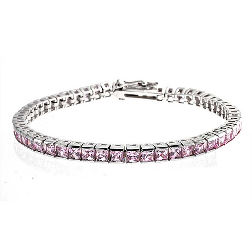Bling Jewelry 925 Sterling Silver Simulated Pink Topaz Princess Cut CZ Tennis Bracelet 7in Y195B-RS-PK-BJ