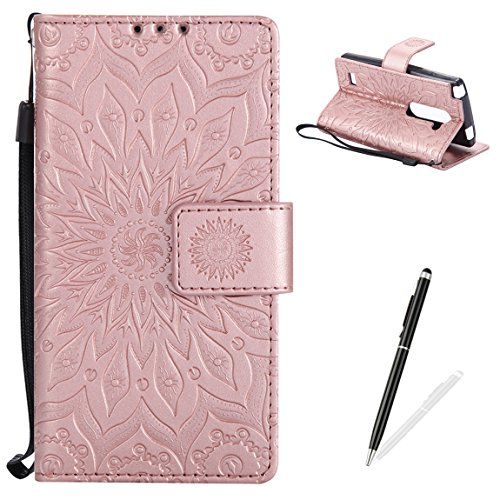 MAGQI LG C40 Wallet Case Premium Soft PU Leather Cover with Card Slots and Wrist Strap Stand Function Embossed Mandala Cover for LG C40 + Black Stylus - Rose Gold