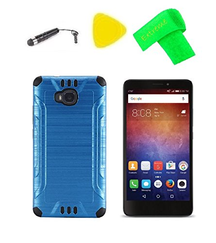 Hybrid Cover Case Cell Phone Accessory + Screen Protector + Extreme Band + Stylus Pen + Pry Tool For Huawei Ascend XT H1611 (2016) (Brush Hybrid Blue-Black)