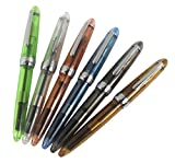 6 PCS Jinhao 992 Plastic Fountain Pen Set, Transparent, Diversity Color