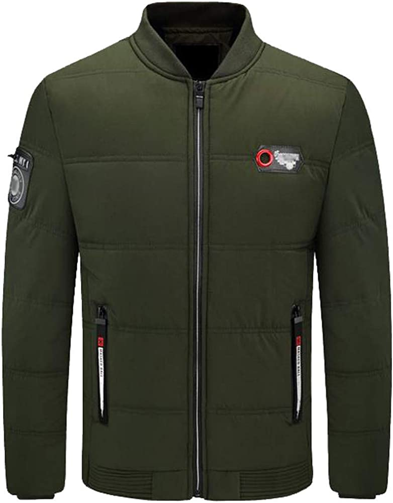 YKARITIANNA Men Big Boys Casual Quilted Warm Stand Collar Slim Winter Zip Coat Outwear Jacket Top Blouse