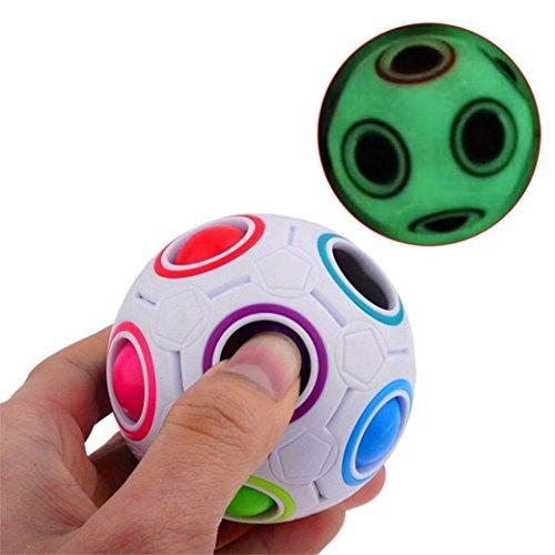 Enjocho Children's Educational Toy Teenagers Adult Stress Reliever 1PC Luminous Rainbow Magic Ball Dolls Plastic Cube Twist Puzzle Toys