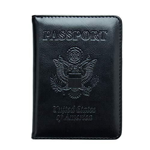 (ZONGSHU RFID Blocking Leather Passport Holder Cover - Travel Passport Wallet Document Organizer Id Card Case, Black#2 )
