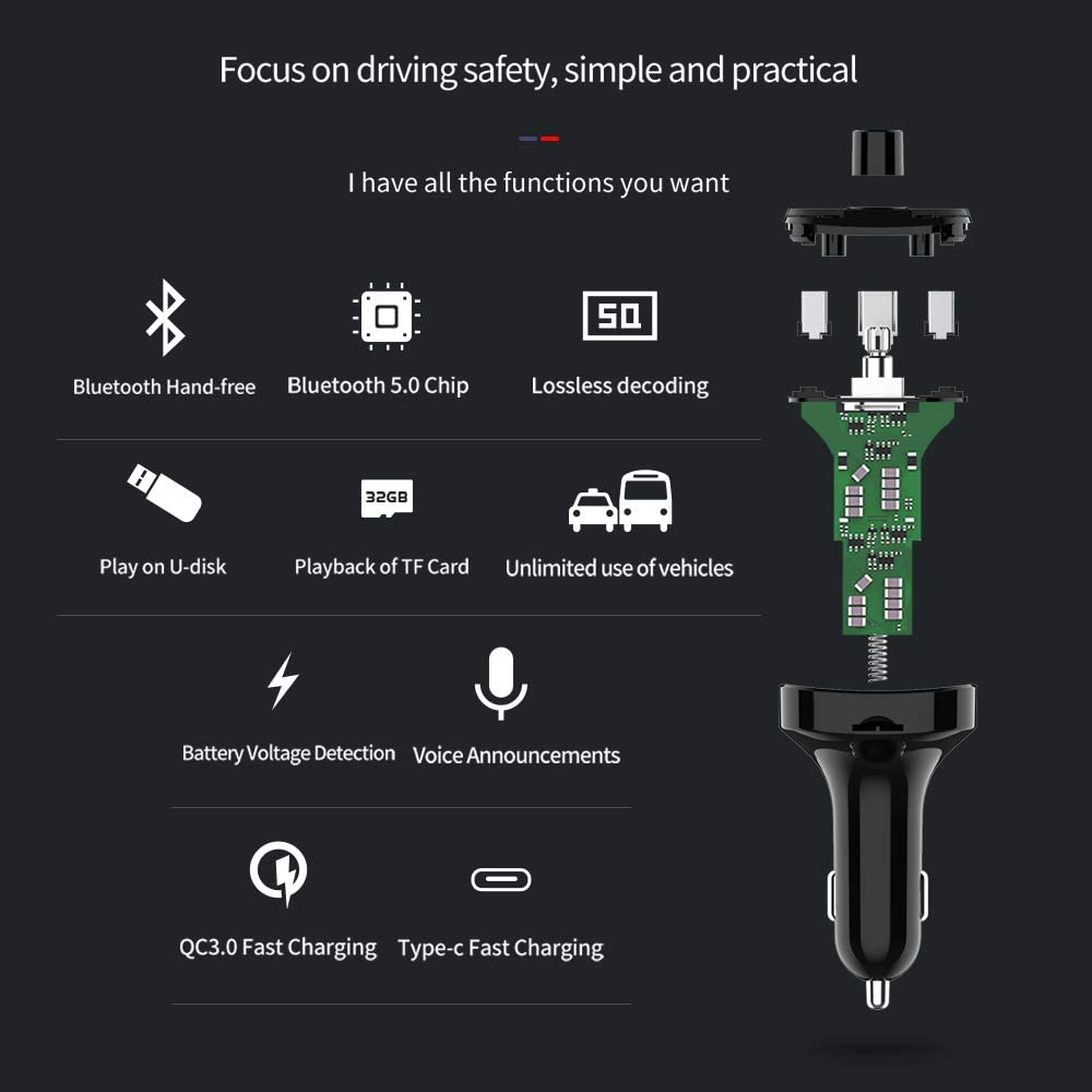 Inventt Bluetooth Adaptor V5.0 MP3 Radio Transmitter Wireless Car kit 3 Phone Charging Ports QC 3A,1A,Type C Hands-Free Calling USB Playback Built in Mic Supports TF Card Voice Prompt.