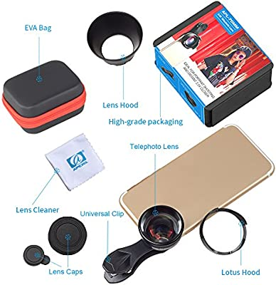 new style 8f421 d832b Apexel 70mm Portrait Lens, Professional HD Phone Camera Lens with Lens Hood  for iPhone X/8/7/7 Plus,Samsung LG(Perfect for Street Portraits, Adventure  ...