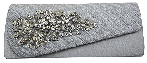 diamante party Silver clutch floral 15 brooch prom HotStyleZone lady's bags gorgeous evening colours 4wSSIEq