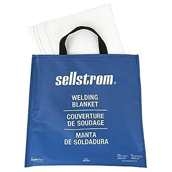 Sellstrom 97455 Fibra de vidrio de soldadura de alta temperatura resistente manta con mango de vinilo