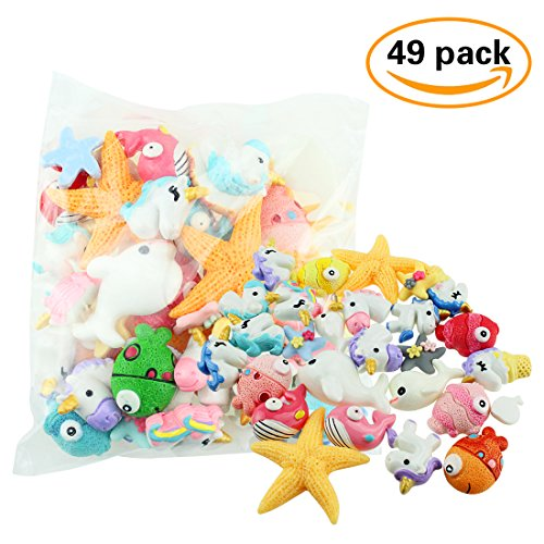 Charm Plastic (49 Pieces Ocean Plastic Slime Charms and Beads Randomly Include Unicorns, Starfishes, Clown Fish, Dolphins, Whales)