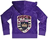 Juicy Couture Girls Embellished Crown Monogram T-shirt or Velour Hoodie (Large Purple Hoodie)