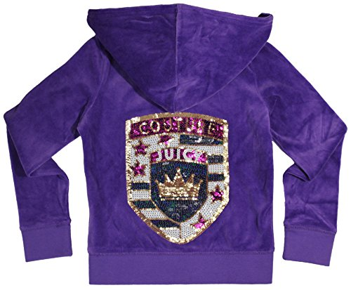 Juicy Couture Girls Embellished Crown Monogram T-shirt or Velour Hoodie (Large Purple Hoodie) by Juicy Couture